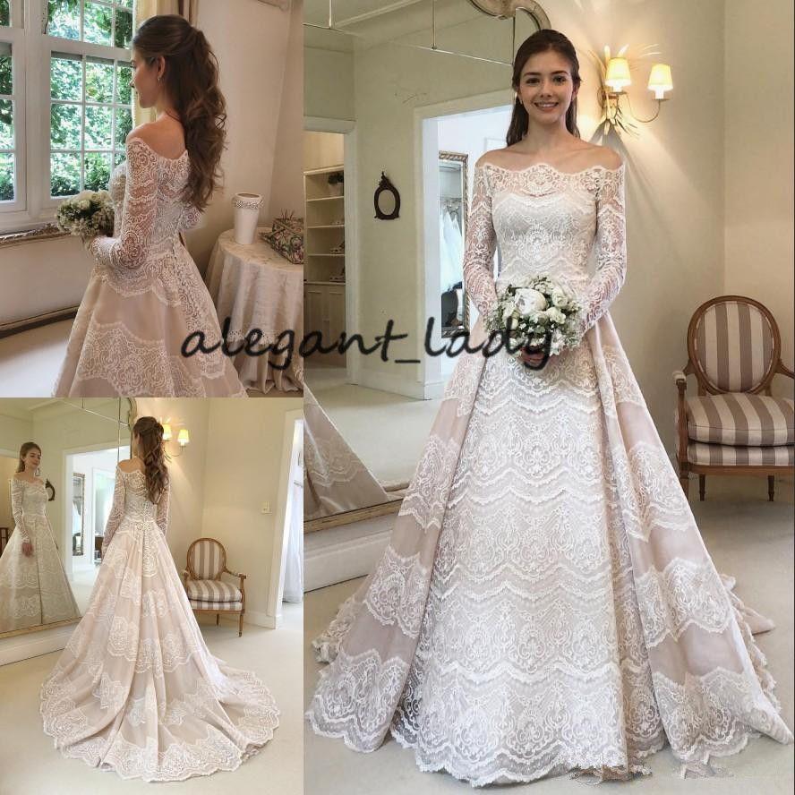 383bbbaa891 Discount Long Sleeve Wedding Dresses 2018 Modest Plus Size Vintage Crochet  Lace Bateau Neck Dubai Arabic Church Garden Princess Castle Wedding Gown ...