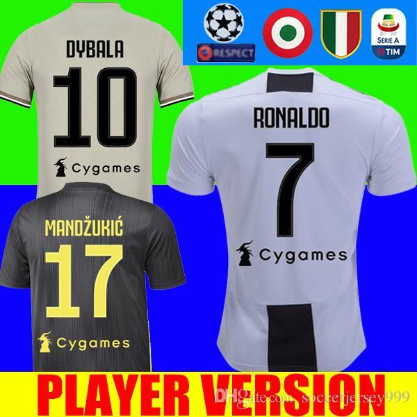 47f28ced539 Player Version RONALDO 18 19 Juventus Soccer Jersey Football Shirt ...