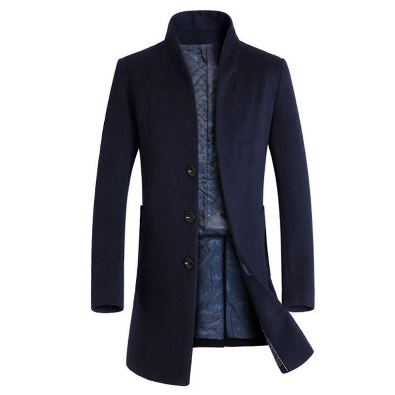Mens Slim Fit Woolen Trenchcoat Winter Warme Mode Lange Winddichte Jacke Stehkragen Mäntel 2018 Klassische Oberbekleidung INCERUN