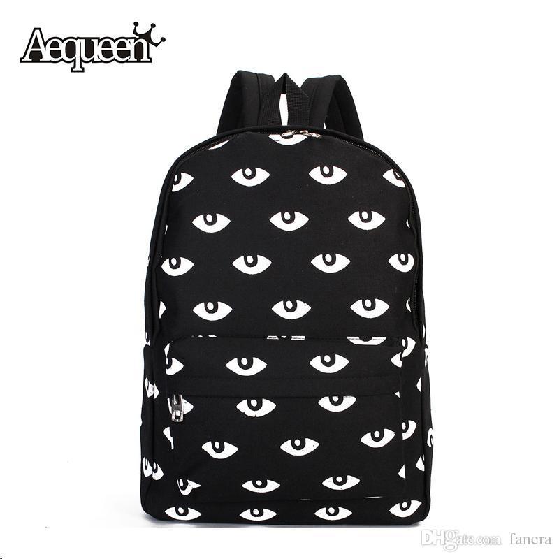 3b2f0171474e Wholesale AEQUEEN Fashion Women Men Unisex Big Eyes Pattern Canvas Backpack  For Girls Cute Rucksack Casual Student School Bag Bookbags Jansport  Backpacks ...