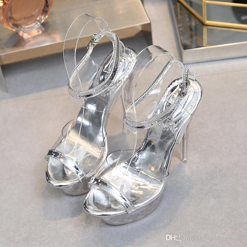 45ee4117ed7 ... Chaussures De Mariage Sexy Argent Cristal PVC Transparent Talons Hauts  Chaussures Hommes Unisexe Pôle Danse Chaussures Plus La Taille 35 À 40 41 42  43 ...