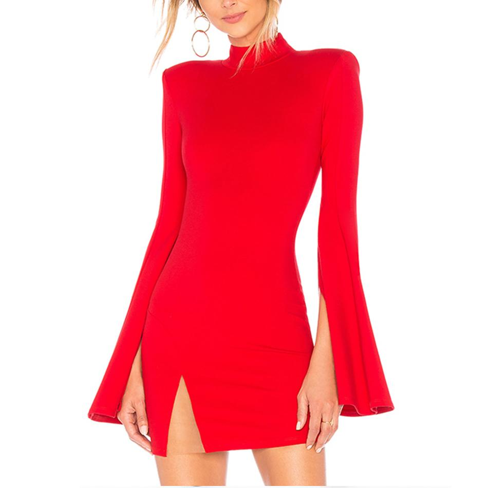 Adyce 2018 New Winter Women Bandage Dress Sexy Flare Sleeve Red Black Mini  Dress Vestidos Elegant Celebrity Evening Party Black Women Clothing Women  Black ... 242d462b1618