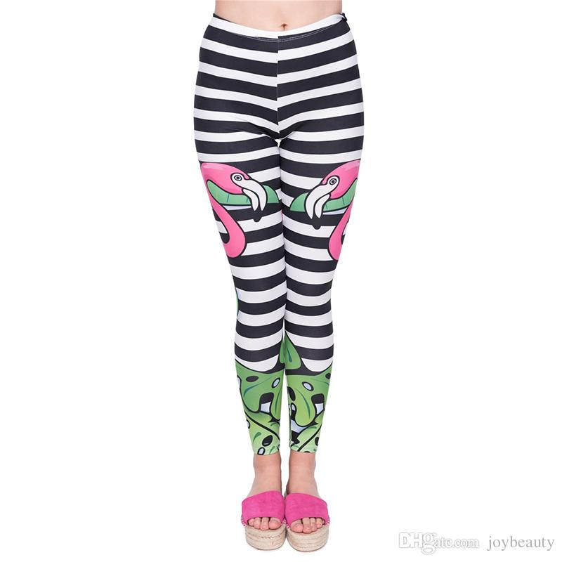 96d95b8fbf8a0e 2019 Women Leggings Flamingo Tropical Stripe 3D Print Lady Pencil Pants  Girls Workout Stretchy Tight Capris Yoga Soft Trousers GL45939 From  Joybeauty, ...