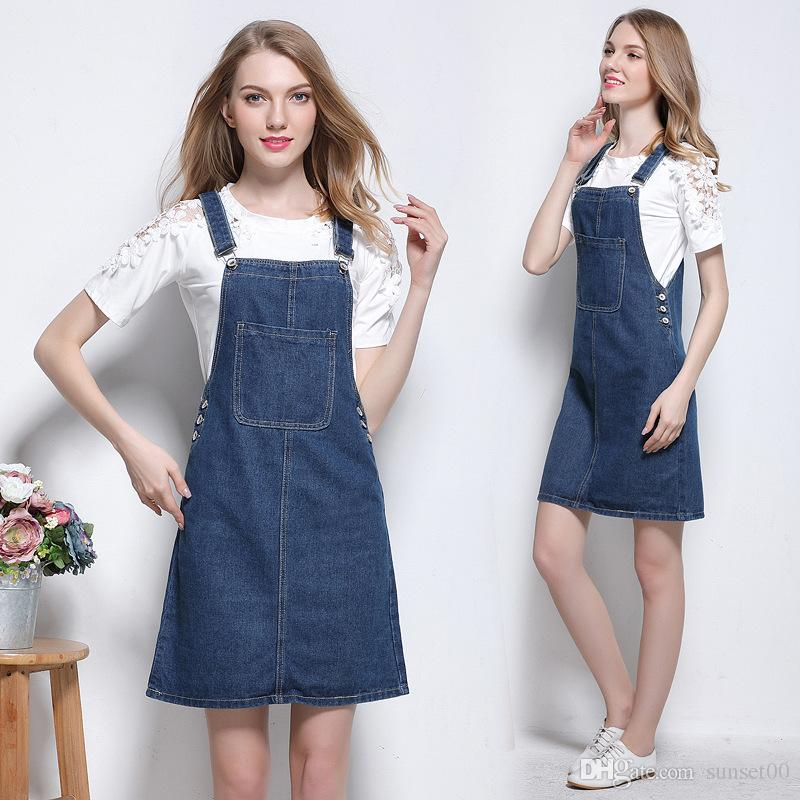 728a26530f5a0 2019 New Women Denim Strap Skirt Ladies Slim Clothing Denim Dress Casual  Fit Student Wear Skirt Plus Size From Sunset00