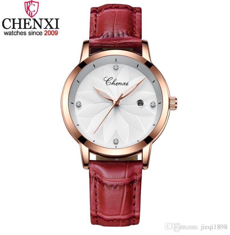 627126f4c8f 2018 CHENXI Fashion Red Ladies Watch Luxury Brand Women Leather Wrist  Watches Rhinestone Gold Clock Quartz Watch Bayan Kol Saati Waterproof Watch  Women ...