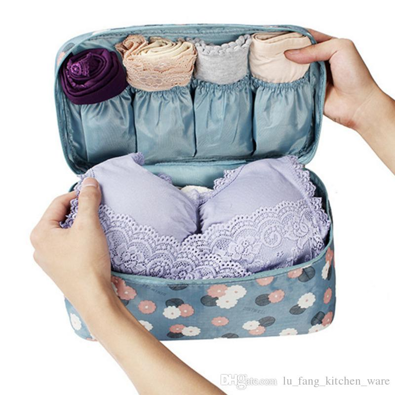 b07ed061df69 Travel Accessories Women s Blue Flower Storage Bag For Underwear Clothes  Lingerie Bra Cloth art Pouch Suitcase Case Home Storage wholesale