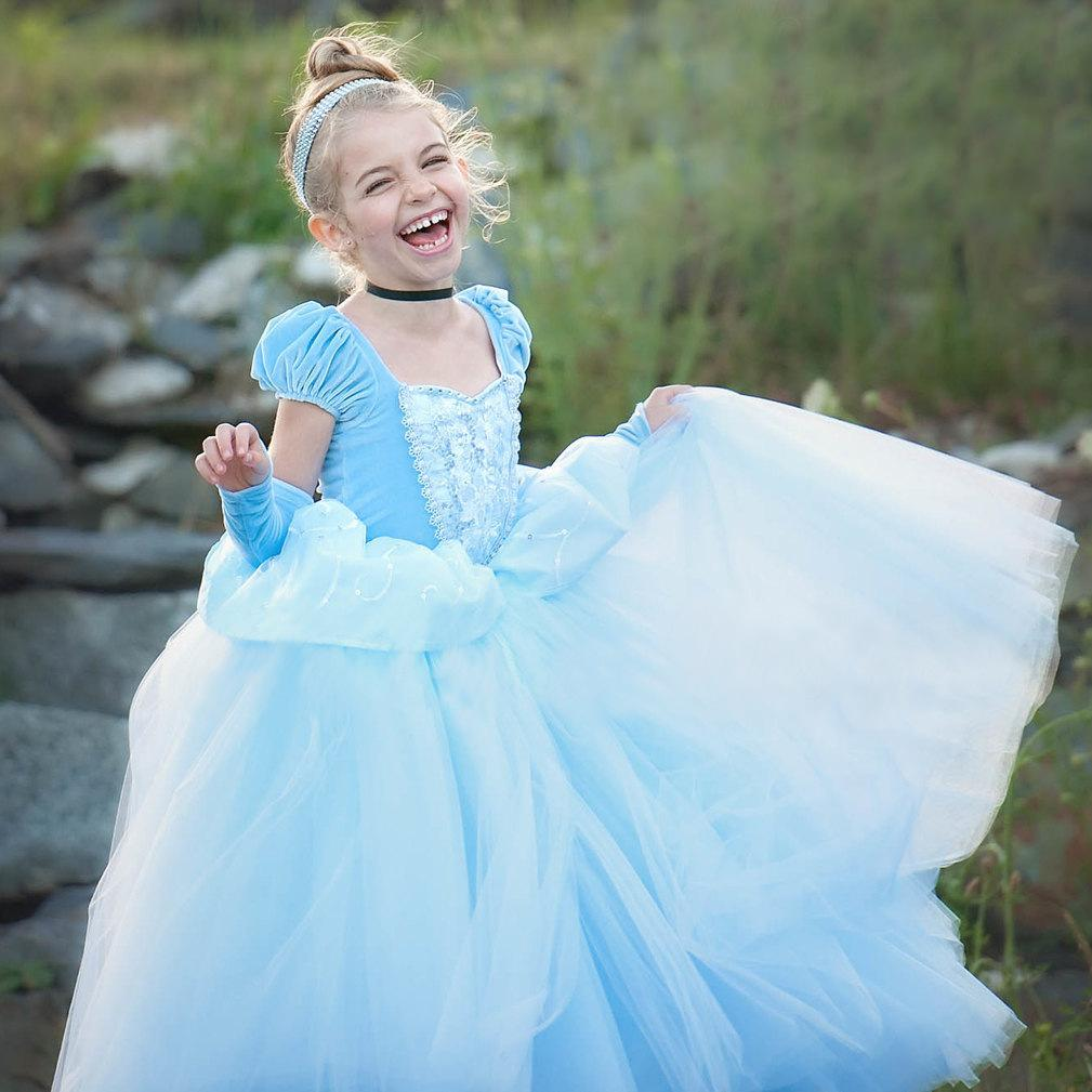 3a819143c2 2018 Flower Girl Dresses Baby Long Ball Gowns Princess Cinderella Girls  Dress Children Role Play Costume Up Costumes Party Vestidos Blue Black Flower  Girl ...