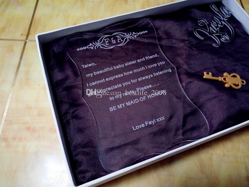 2019 Acrylic Customized Invitations Card Acrylic Engraved Wedding