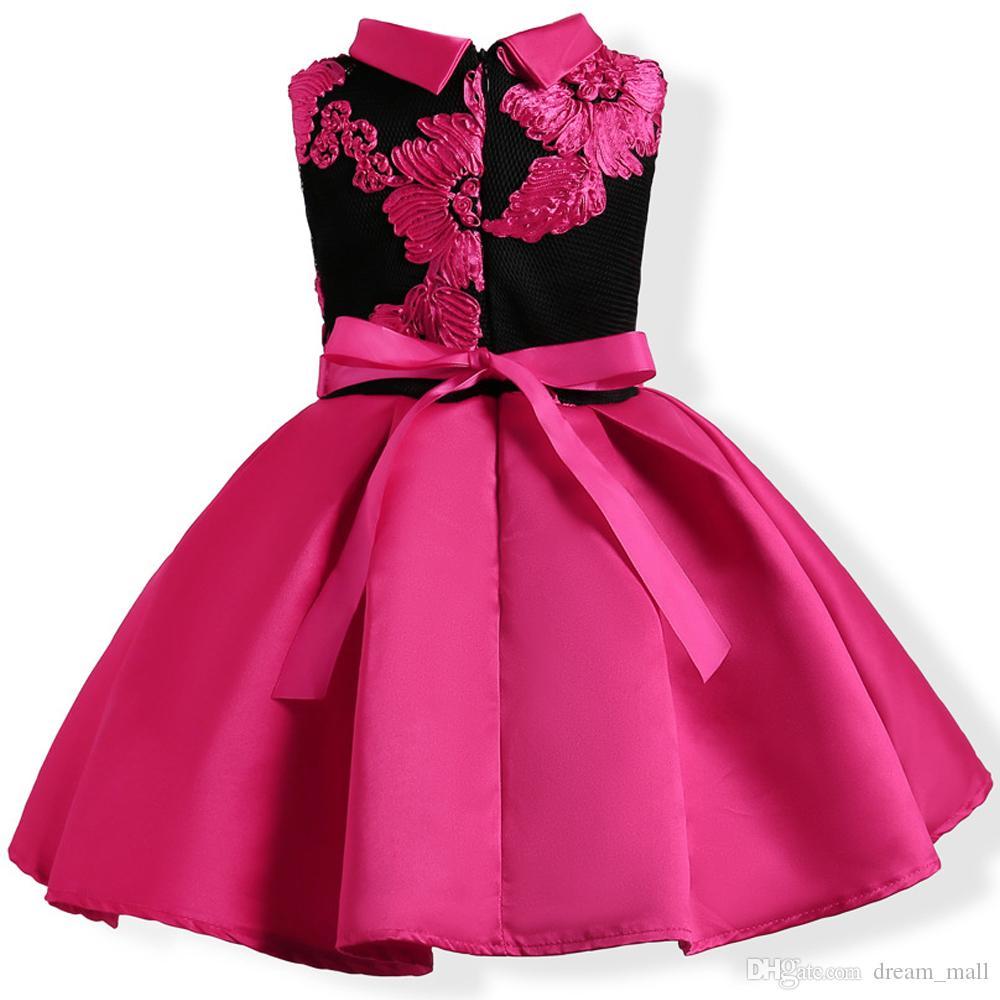 Vestido de niña de flores bordado Princesa Niños Fiesta formal Vestido de gala Ropa para niños