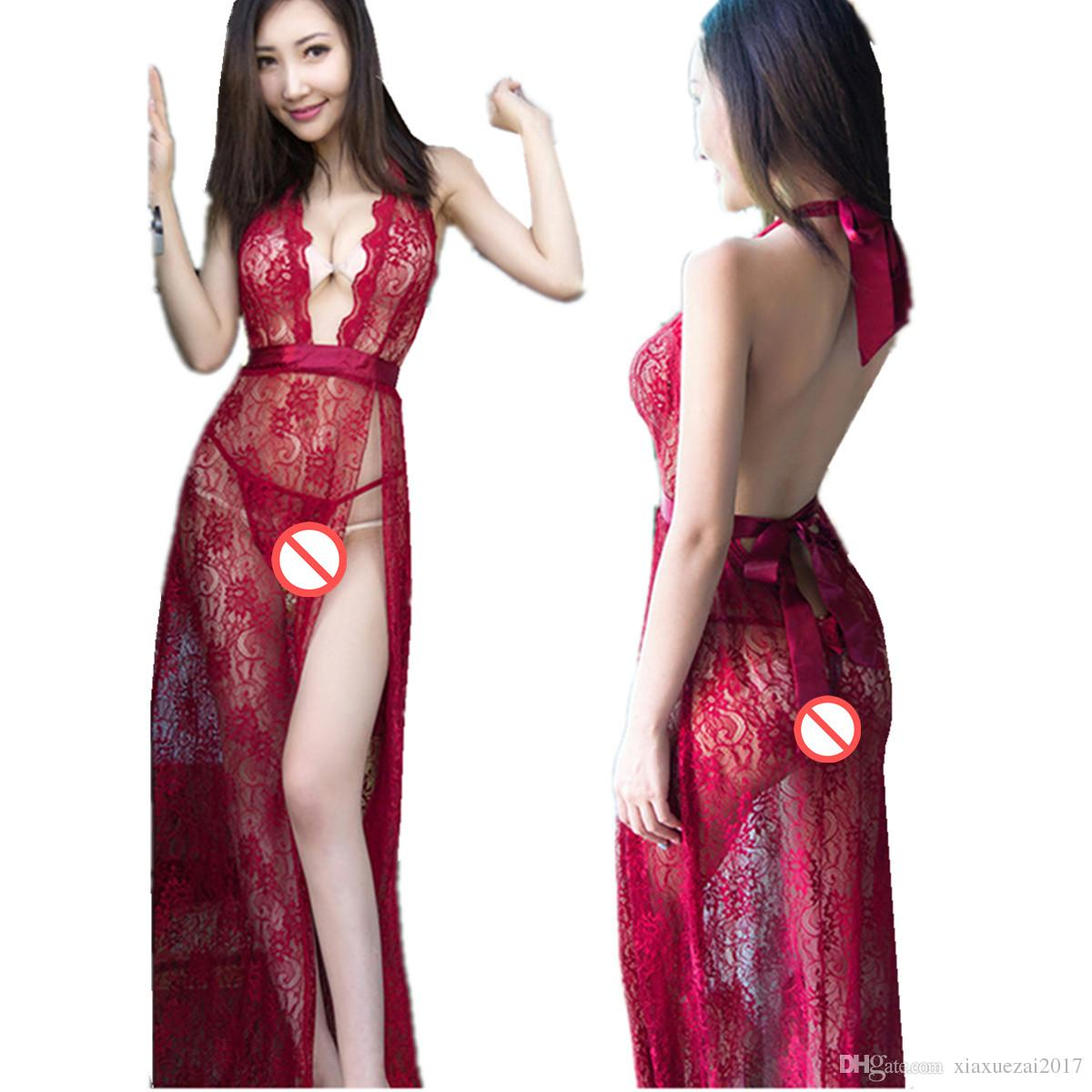 7a34be44f0 Lencería sexy porno de encaje vestidos sexy dividir cintura alta vestido de  mujer abra sujetador abrir la entrepierna ropa interior erótica ver a  través de ...