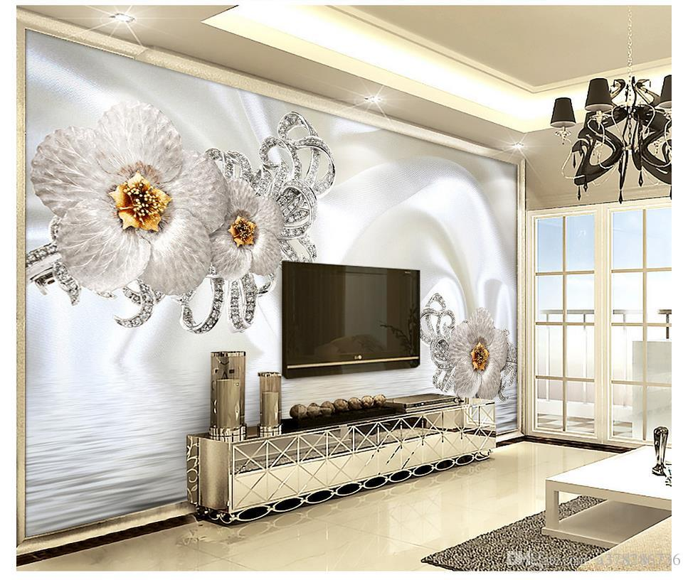 3D wallpaper custom 3d wall murals wallpaper Jewelry silk water pattern flowers 3d luxury TV living room background wall home decor painting