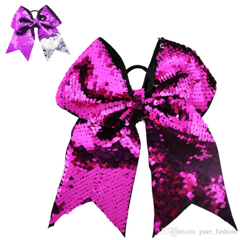 / 8 Inch Fashion Women Girls Glitter Sequins Scales Big Cheer Bow Elastic Hair Bands Ponytail Holder Popular Hair Accessories