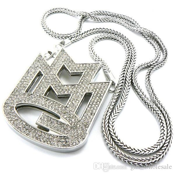 2017 New Iced Out JESUS Face Pendants with Franco Rope Chain HipHop Style Necklace Gold silver Plating Hip hop jewelry Necklace