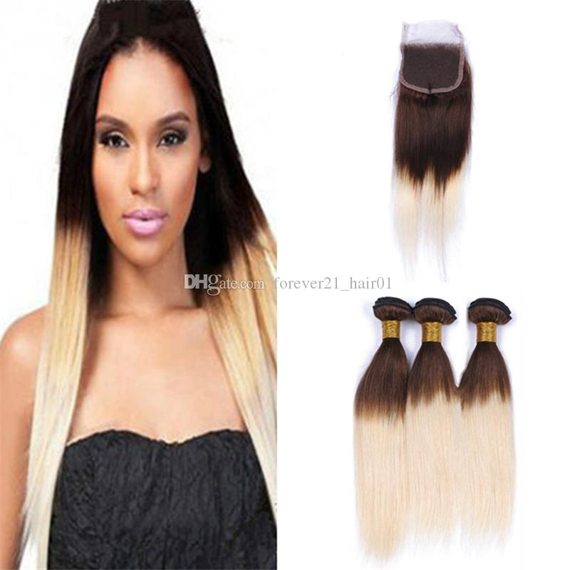 2019 Chocolate Brown To Blonde Ombre Hair Bundles With Lace Closure