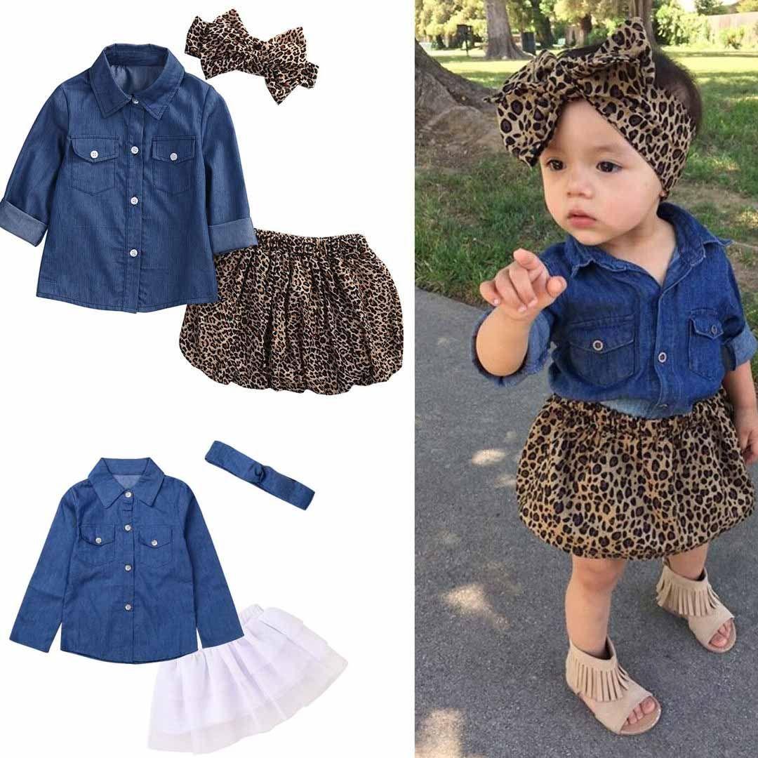 Ins bambini ragazza set di abbigliamento denim T shirt + leopardo breve + fascia imposta bambina t shirt abbigliamento set stile set pleuche