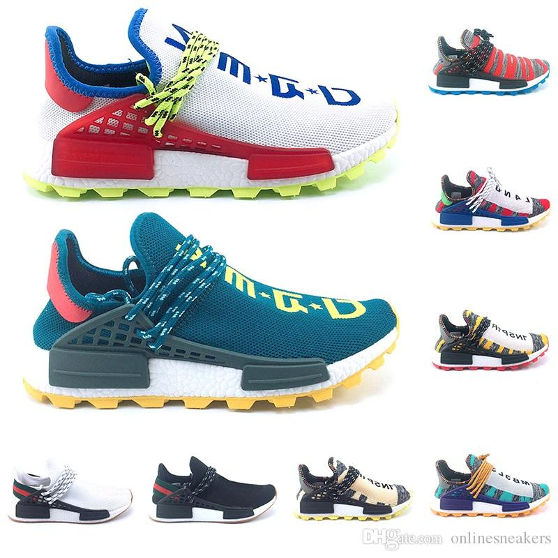 Adidas NMD Human Race Boost Creme Nerd Course Humaine trail Afro Solaire Chaussures De Course Hommes Femmes Pharrell Williams HU Coureur SOLARHU