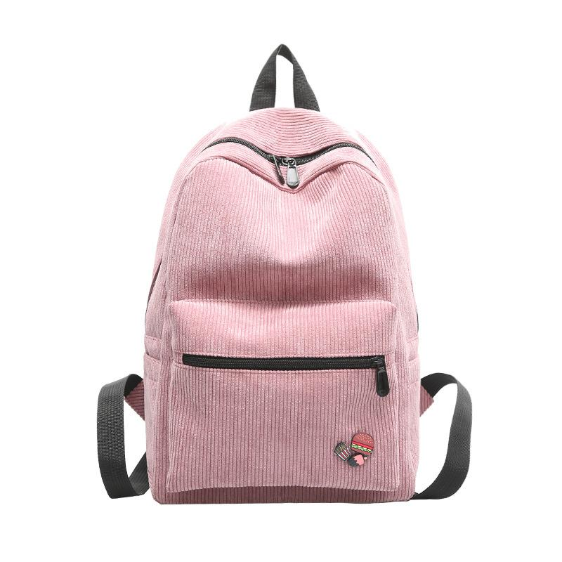 2018 New High School Backpacks Solid Color Corduroy Cute Funny Burger  Personality Badge Designer Backpacks Women High Quality Hunting Backpacks  Gregory ... 9ed71a42ce3e7