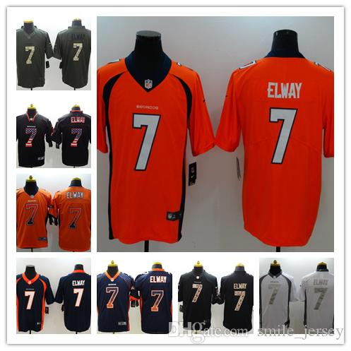save off 14c39 3f853 2019 New Mens 7 John Elway Denver Broncos Jerseys 100% Stitched Embroidery  Broncos John Elway Color Rush Football Jerseys Best Quality