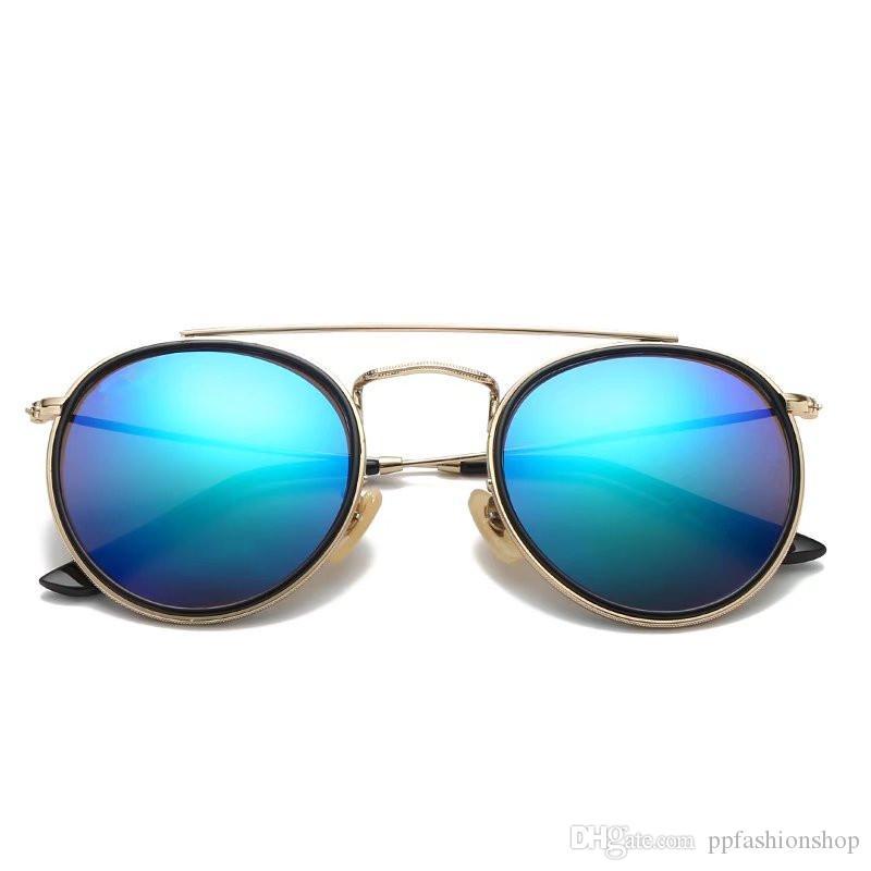 3647 العلامة التجارية النظارات الشمسية الرجال النساء أزياء النظارات الرجعية نظارات ماركة تصميم جولة الإطار uv400 حملق أزياء النظارات الرجعية