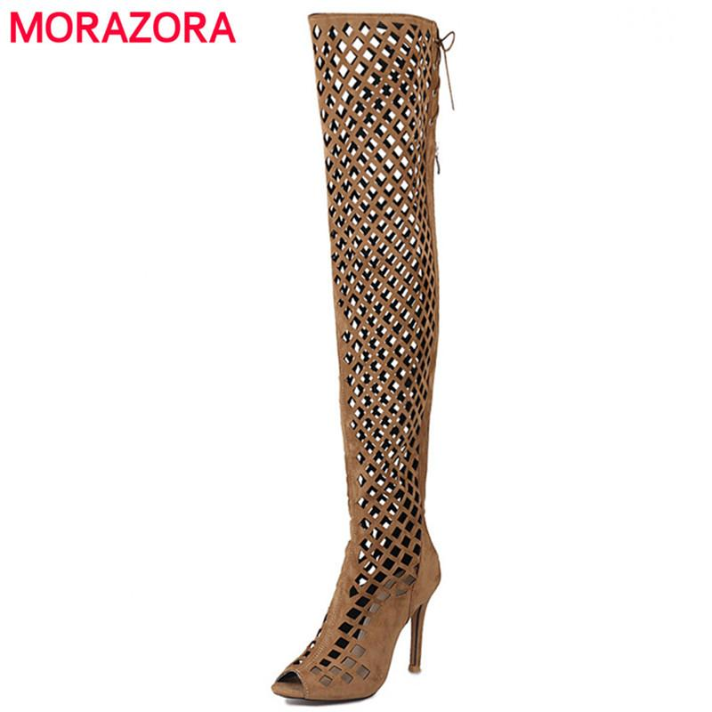 4caad54eb0 MORAZORA Peep toe thin heels shoes woman over the knee boots zipper ribbon  summer boots sexy lady fashion big size 34-46