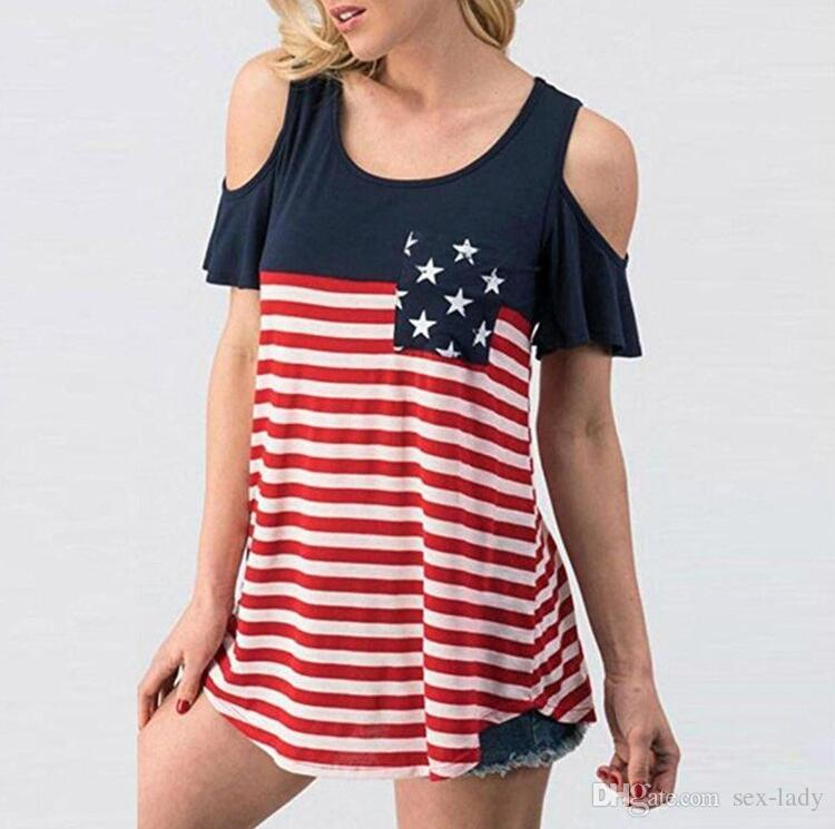 b6a159a9f558e 2019 2018 New Lady Women Sexy Strapless Patriotic American Flag Star  Printed Cropped Top T Shirt Casual Style From Sex Lady