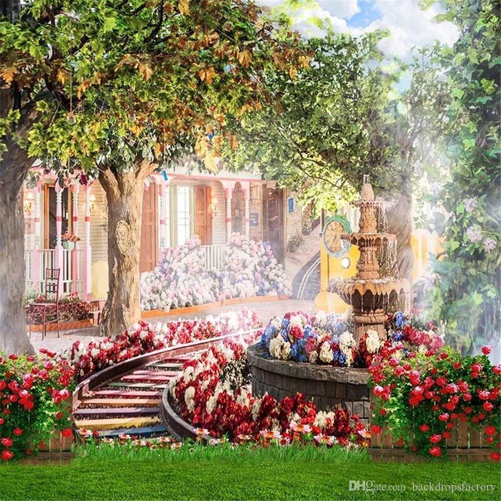 Großhandel Frühlings Blumen Garten Hochzeits Hintergründe Für Studio