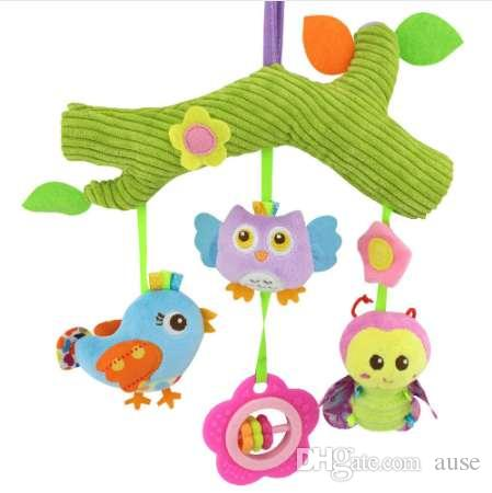 NEW Baby Toys owl bird Cute Cartoon Animal stuff Plush Doll Early Educational rattles bed hanging Stroller Hanging gift