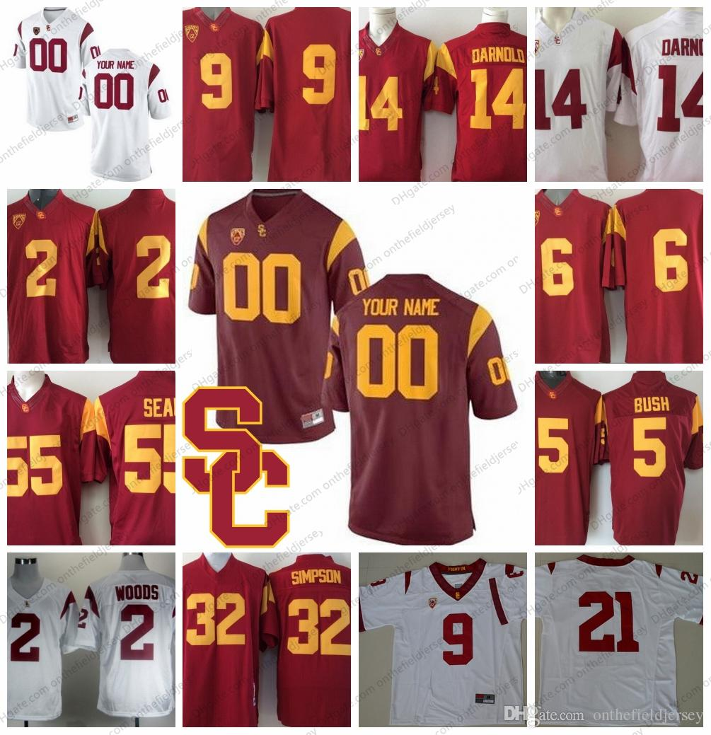 e4a5306b001 Custom USC Trojans NCAA College Football Any Name Number Red White ...