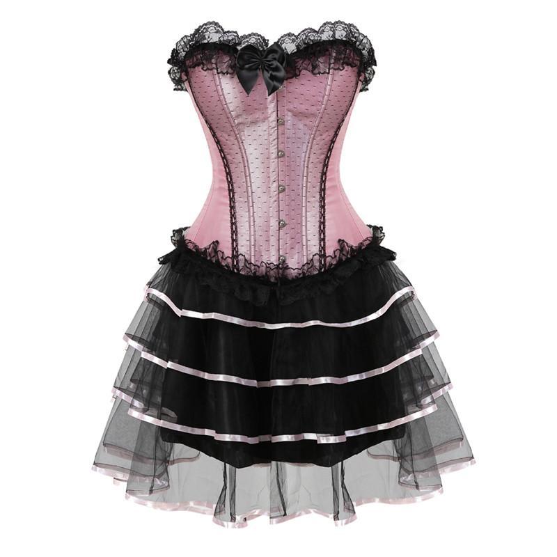 7edf77513299 Großhandel Spitze Sexy Korsetts Für Frauen Plus Größe Kostüm Overbust Burlesque  Korsett Und Rock Set Tutu Korselett Viktorianischen Mode Kleider Rosa Von  ...