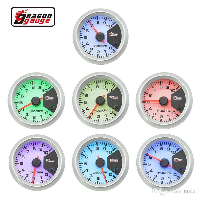 Dragon gauge 2 inch 52mm Stepper motor Auto tachometer Gauge 7 color  backlight 0-10000 RPM Meter