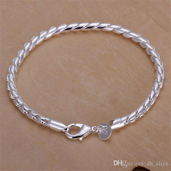 feae3b54668786 2019 Small Twisted Rope Hand Chain Sterling Silver Plated Bracelet ;Hot  Sale Men And Women 925 Silver Bracelet SPB210 From Dh_alice, $3.46 |  DHgate.Com