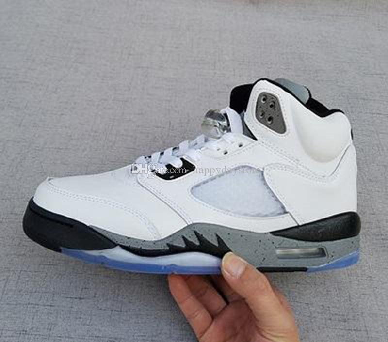 114099ccd39309 2017 Newest Arrival Air Retro 5 White Cement Men Basketball Shoes White  Grey Retro 5s Mens Sports Shoes Sneaker Size 8 13 Barkley Shoes Shoes  Jordans From ...