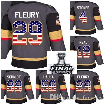 1d45d20375f 2018 Stanley Cup Final Patch Men Lady Kid Vegas Golden Knights USA Flag Marc  Andre Fleury James Neal Stoner Haula Schmidt Hockey Jerseys UK 2019 From ...