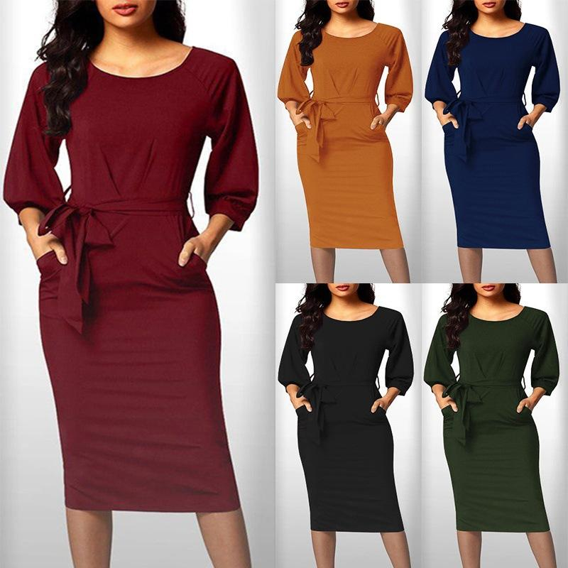 6dca883aa527 Autumn Women 4 5 Sleeve O Neck Mustard Sheath Dress With Sash Robe Black Burgundy  Green Orange Casual Women Slim Bodycon Dress Dresses Online Graduation ...
