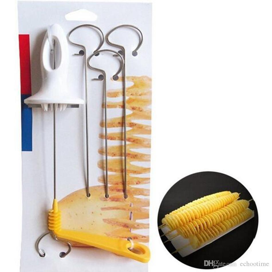 Tornado Potato Spiral Cutter Slicer Chips Spits Tower Making Twist Shredder French Fry Cutter Kitchen Supplies
