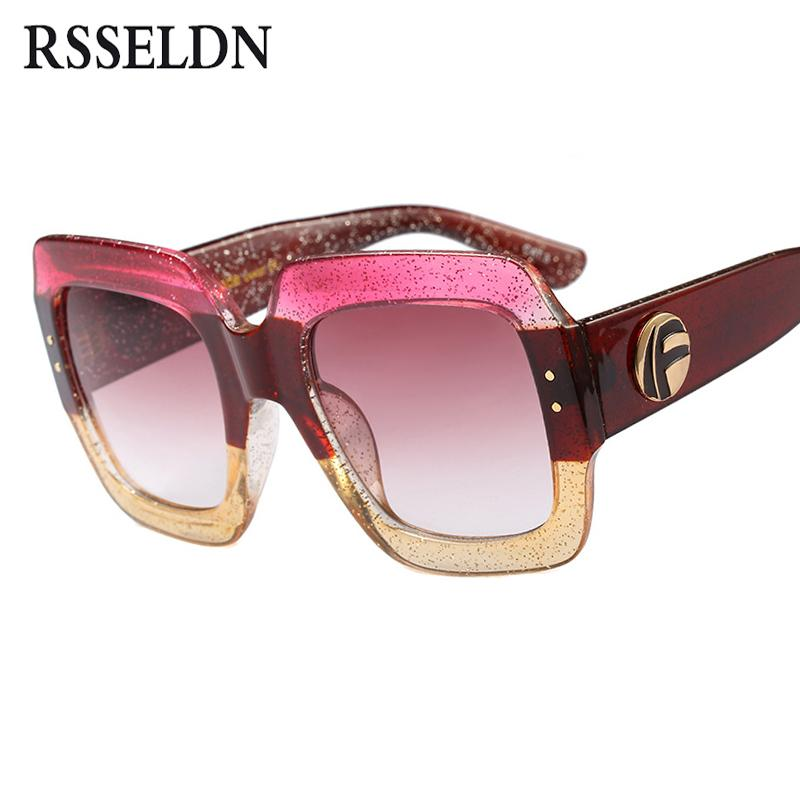 bc2e7e71e8a RSSELDN Oversized Square Sunglasses Women Fashion Gradient Lens Sun ...