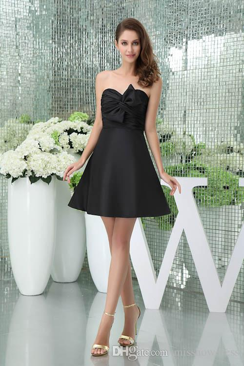 Strapless Satin Short Homecoming Dresses Black Bow Sash Ruched Empire A Line Formal Party Short Cocktail Prom Dresses WD5-011