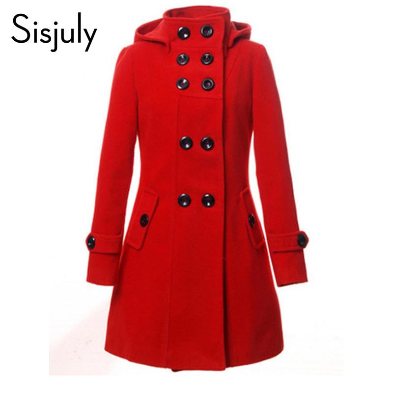6ea427ad4b8b4 2019 Sisjuly Hooded Trench Women Coat Winter Double Breasted Solid Button  Wool Coat 2018 Autumn Fashion Fall Outerwear Girl From Yujian18