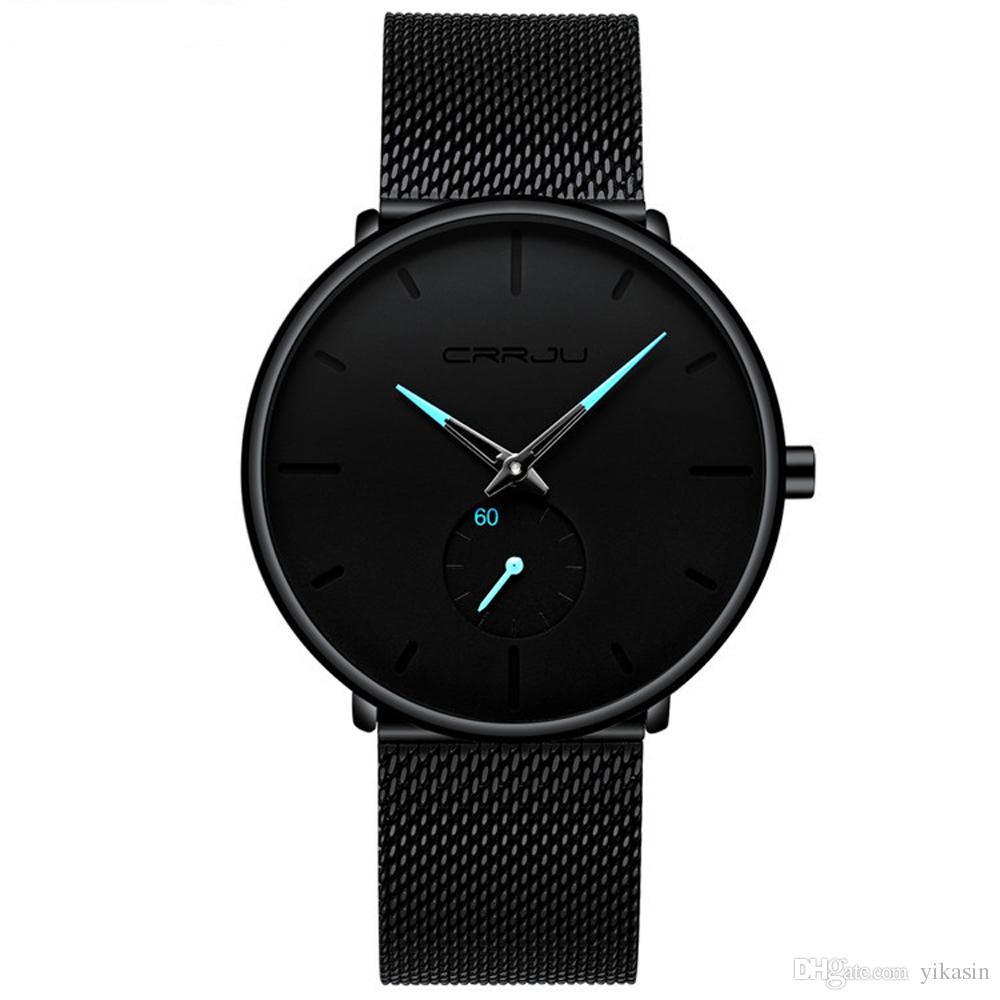 428946d452e Compre Mens Preto Ultra Fino Relógio Minimalista Moda Luxo Relógios De  Pulso Para Homens Negócio Vestido Casual Impermeável Quartzo Relógio Para  Homem Com ...