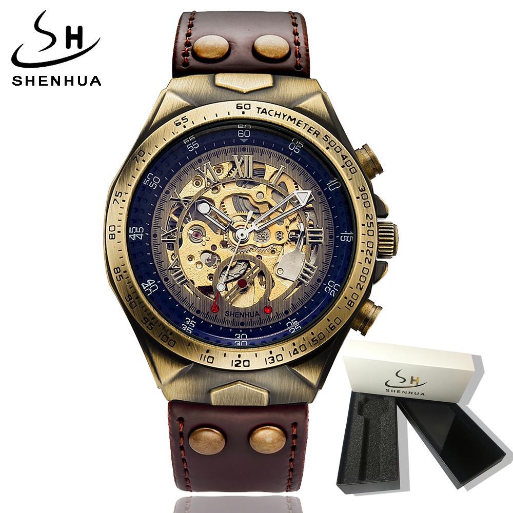 455718d787d Compre 2018 Steampunk Esqueleto Relógio Transparente Mecânico Automático  Auto Enrolamento Mens Relógios Relógio De Pulso De Couro Relógio Mecânico  De ...