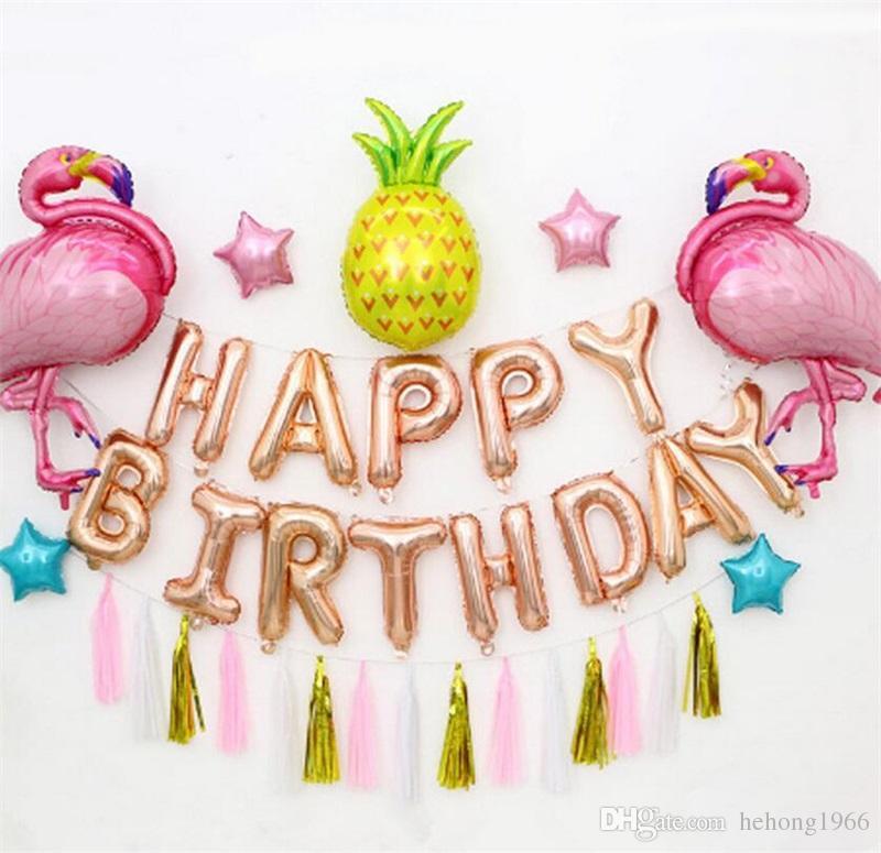 Flamingo Anglais Alphabet Balloon Set Rose Ananas Glands Fête D Anniversaire De Mariage Décoration Enfants Lettre En Aluminium Film Ballons 19pq Y