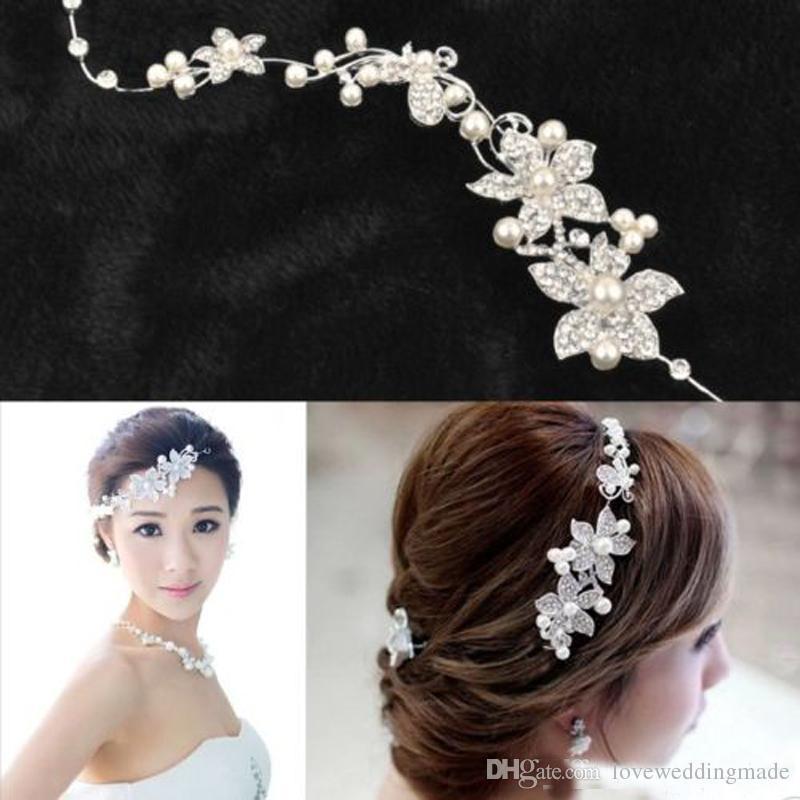 Cheap мода свадебный свадебный головной убор, аксессуары для волос с жемчужиной свадебной коронки и головной головки Tiaras Hrinestone Bridal Tiara