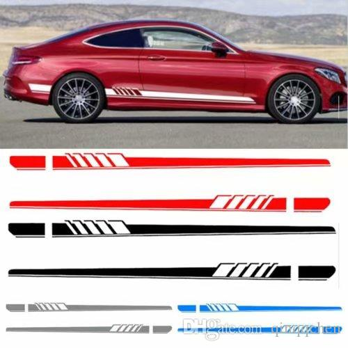 NEW Edition Auto Side Skirt Decoration Sticker For Mercedes Benz C Class W205 C180 C200 C300 C350 C63 AMG