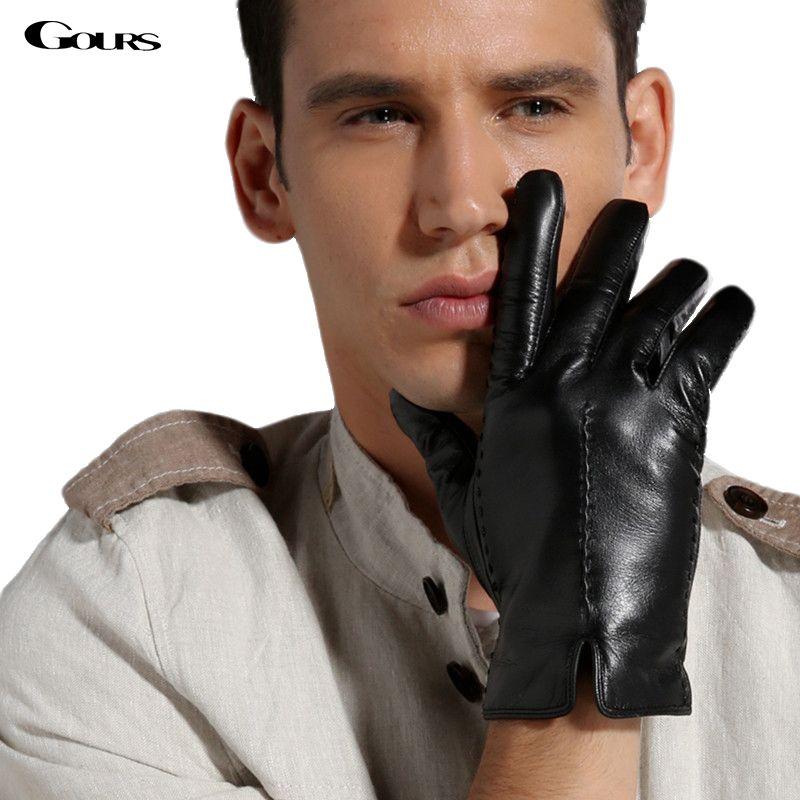 fbf4d71d6b8ed Gours Men's Winter Genuine Leather Gloves 2017 New Fashion Brand Warm Black Driving  Gloves Goatskin Mittens Guantes luvas GSM021