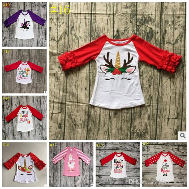 2018 Baby Unicorn T Shirts Kids Christmas Clothing Girls Ruffled ...