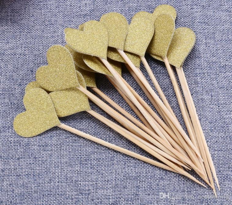 10 adet / grup Altın Glitter Kalp / yıldız Cupcake Kek Toppers Pick Düğün Gelin Kek Toppers Doğum Günü Partisi Iyilik Kek Süslemeleri