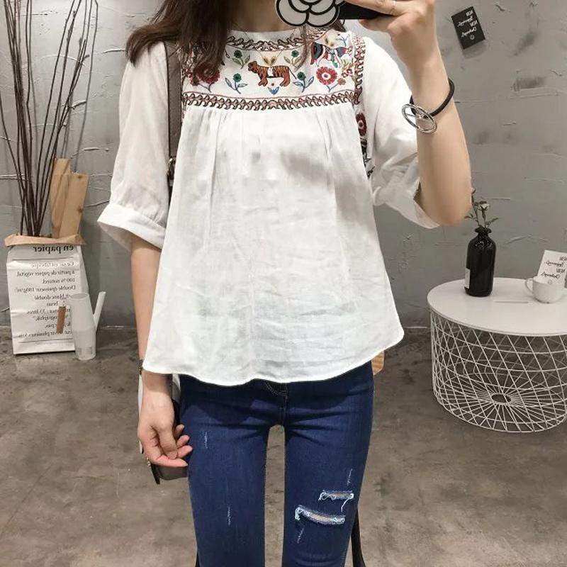 6516add1940e 2019 Causey Cotton Shirt Casual Summer Floral Embroidery Lace Up O Neck Blouse  Half Sleeve Shirt Ladies Casual Boho Tops From Fabian05, $24.87 | DHgate.Com
