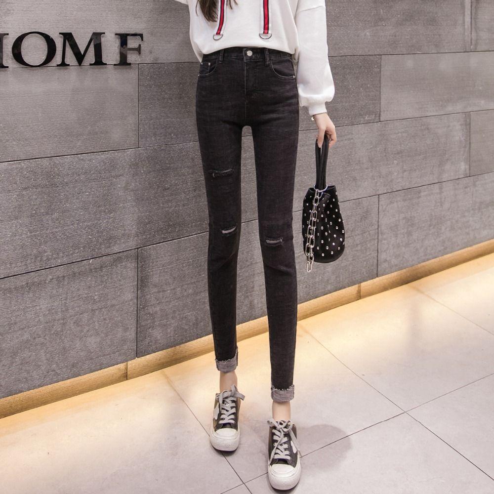 72d8a75e31 2019 S XL 2018 Autumn Korean Chic Style Elastic Waist High Waist Skinny  Jeans Womens Roll Up Denim Pants Womens Z8511 From Fabian05