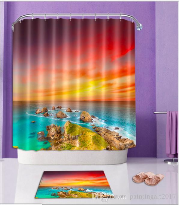 Arctique soleil 3D modèle Imprimer personnalisé étanche salle de bains  moderne rideau de douche polyester tissu salle de bain porte rideaux  ensembles