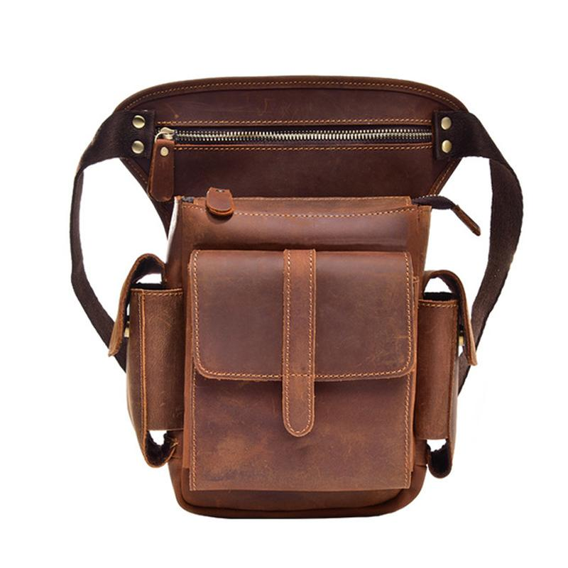 Men Crazy Horse Genuine Leather Drop Leg Bag Fanny Waist Pack Motorcycle Riding Outdoor Cross Body Messenger Shoulder Pouch Fine Jewelry